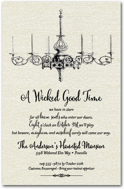 Halloween Invitations Chandelier Shimmery White