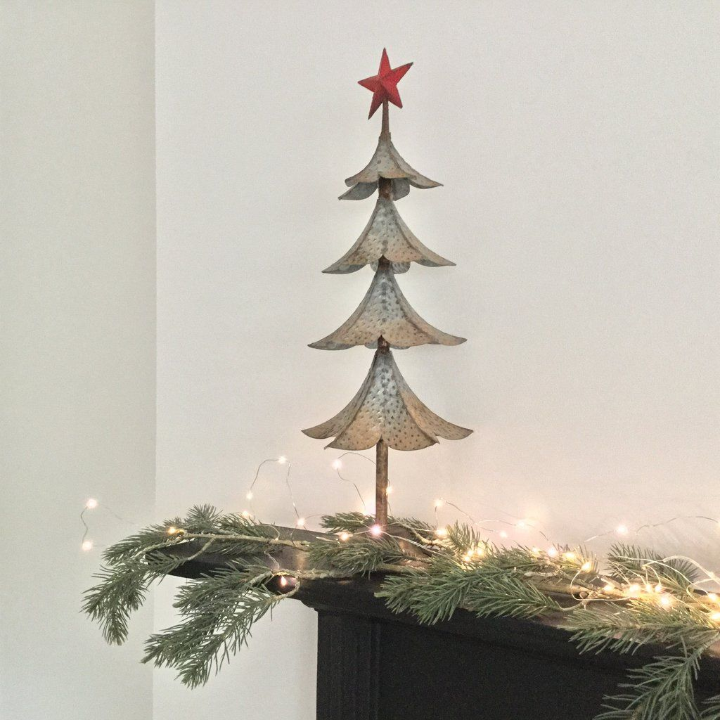 small metal industrial style christmas tree with star - Small Metal Christmas Tree