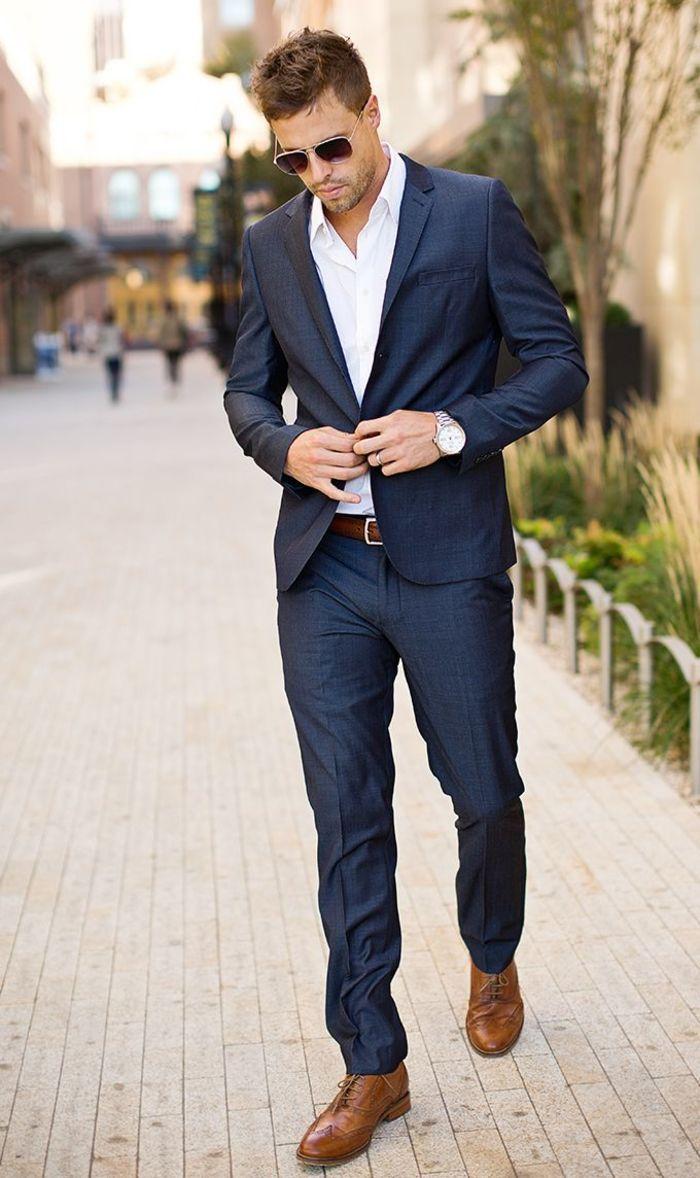 18 Blue Suit Looks Blue Suit Open White Shirt Brown Shoes Men