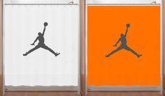 Basketball Shower Curtain Air Jordan Jumpman Bathroom Decor Orange