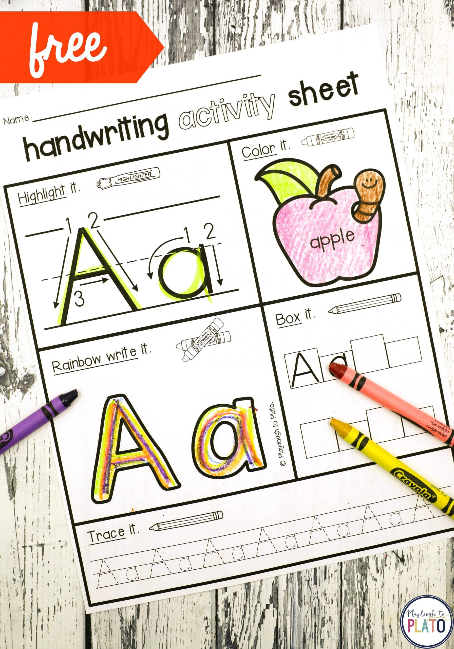 D Nealian Handwriting Practice Worksheets Handwriting Activity Pages Playdough To Plato Handwriting Activities Free Handwriting Activity Sheets
