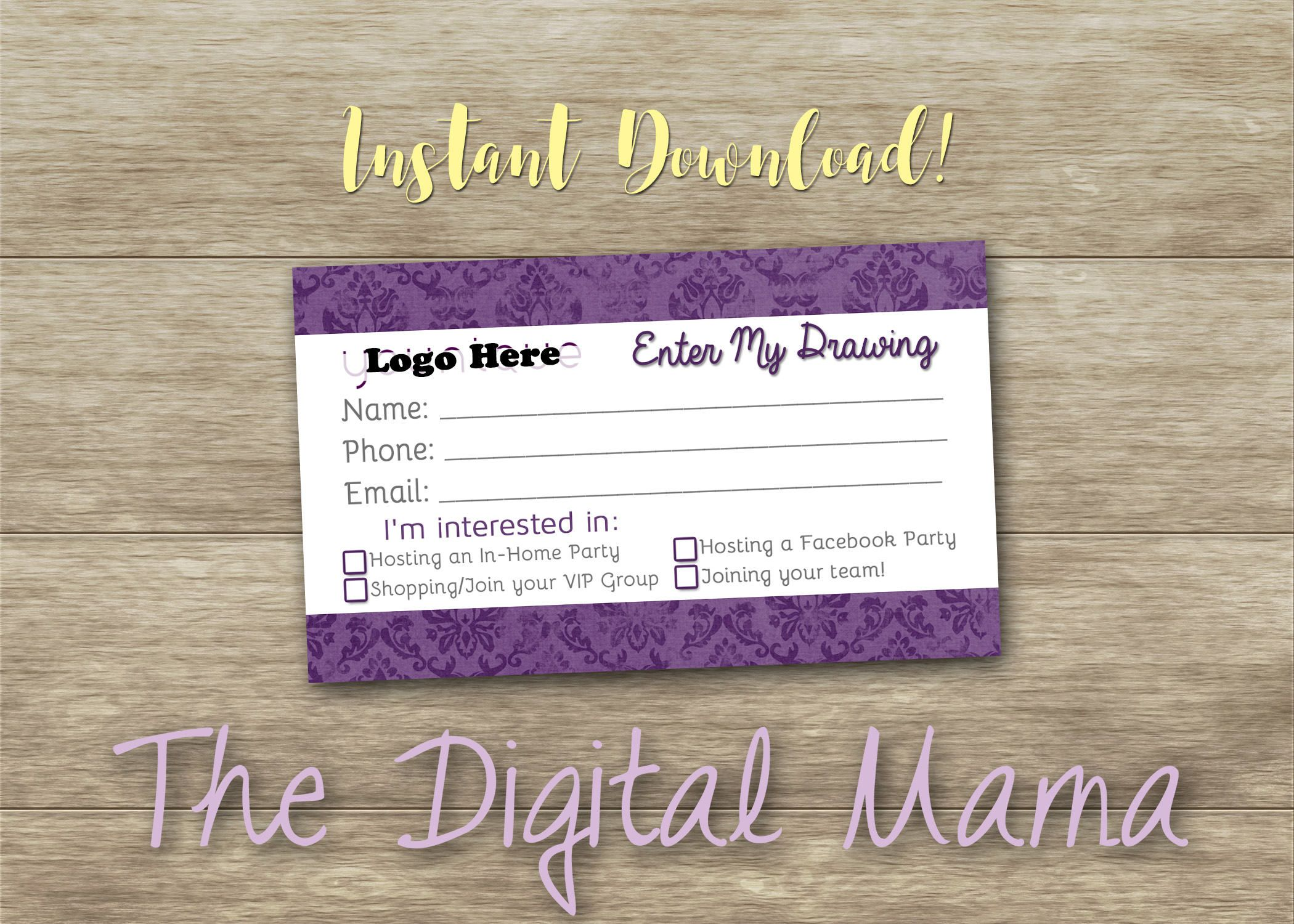 instant download younique customer information raffle card