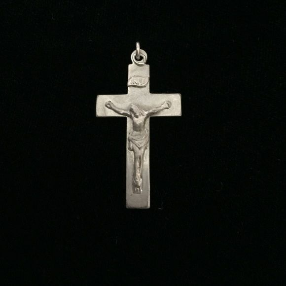 """Antique Sterling Crucifix Pendant Just beautiful - what more to say except engraved in cursive """"V.F.L. 5-9-26"""". Marked Sterling. Vintage Jewelry"""