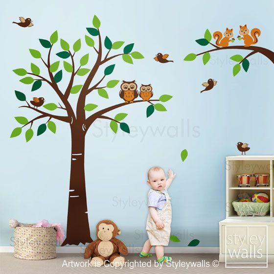 Wald Tiere Baum Wand Wand Aufkleber Wald Wandtattoo