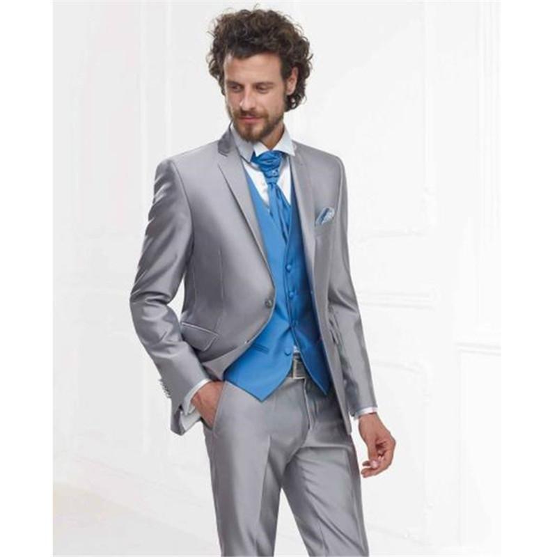 Custom Made 2017 Silver Grey mens suits Formal Men Suit Slim Fit ...
