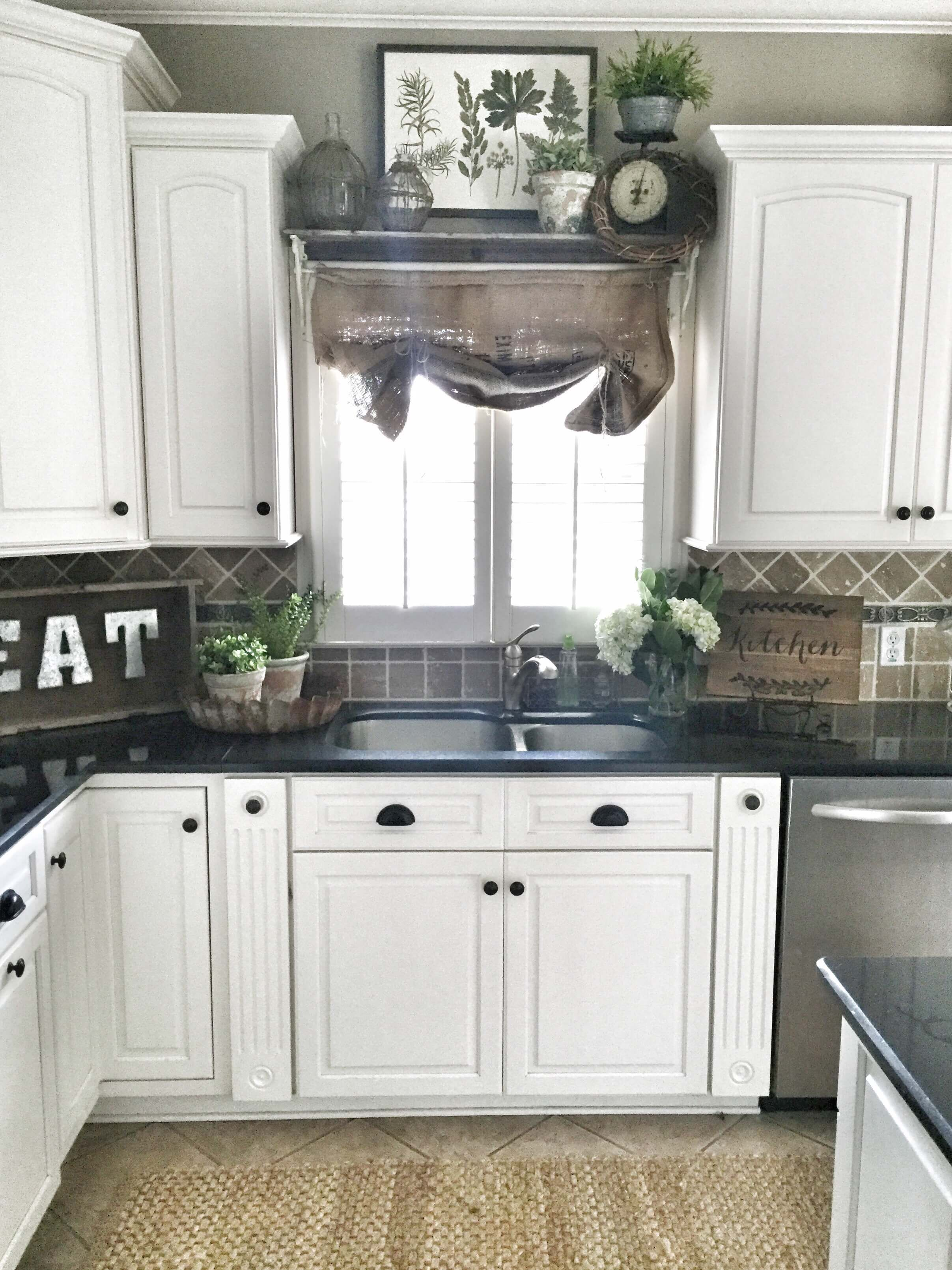 Above window decor   perfect color ideas for painting kitchen cabinets that will add