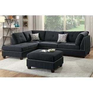 Nice 3 Pc Martinique Collection Black Linen Like Fabric Upholstered Sectional  Sofa With Reversible Chaise And Ottoman