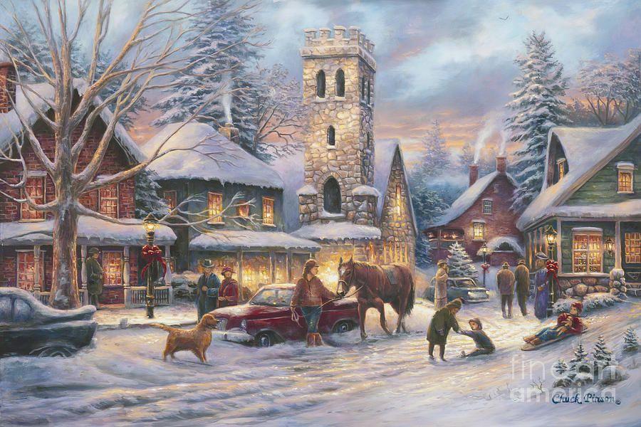 Love Runs Deep by Chuck Pinson ~ church ~ village ~ winter ...