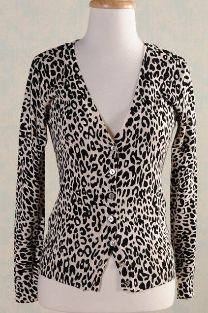 Grey Merino animal print V-neck cardigan (subtler print than this ...