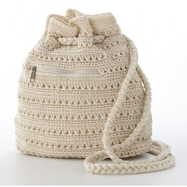 Mudd Crochet Drawstring Backpack ($20) found on Polyvore | Crochet ...