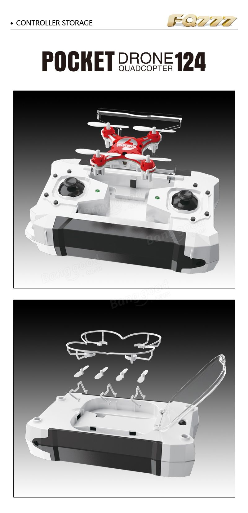 FQ777-124 Pocket Drone 4CH 6Axis Gyro Quadcopter With Switchable Controller RTF Sale - Banggood.com