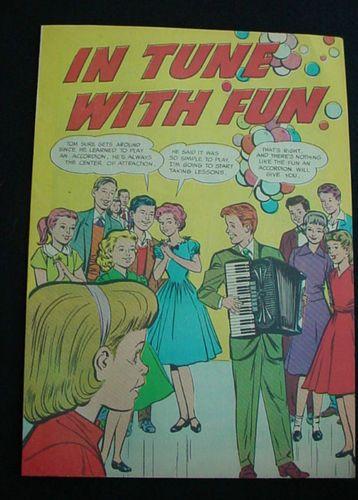 Accordion music Rare comic book 1950's In Tune With Fun Advertising