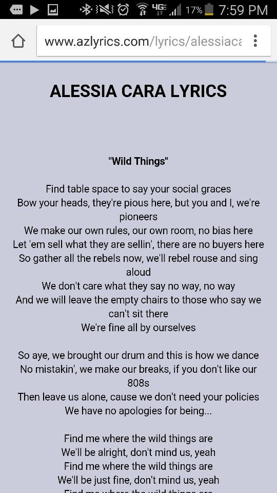 Lyric find songs by lyrics : Wild things alessia cara pt1 | music | Pinterest | Wild things ...