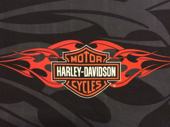 This Is A Harley Davidson Motorcycle Logo Fabric Panel Orange Flames On Black And Gray Background Cotton Blend Fabric Great For Crafts B