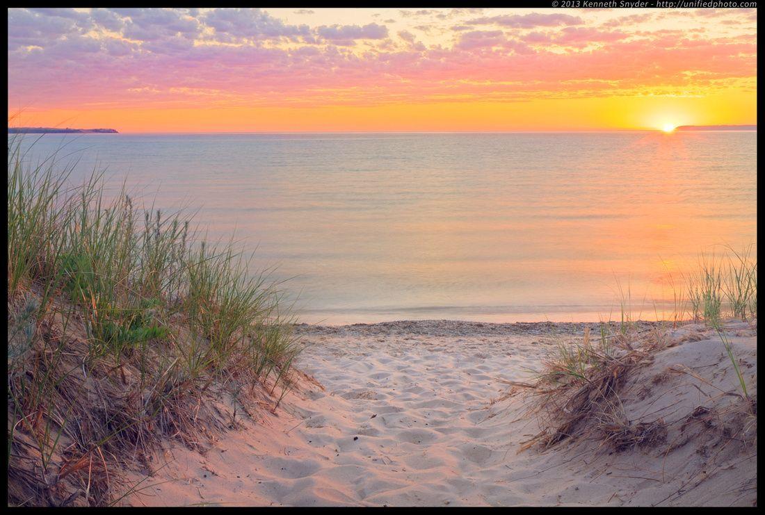 Pure michigan summer sunset sleeping bear dunes michigan for Summer lake
