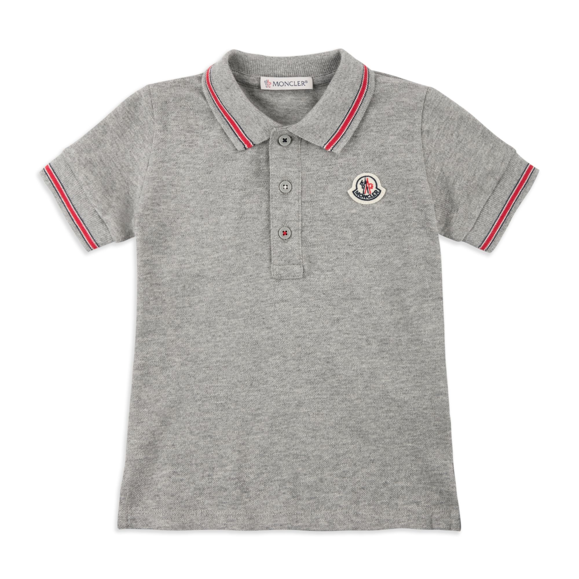 c6342c3e6 MONCLER Baby Boys Tipped Pique Polo - Grey Baby short sleeve polo •  Lightweight cotton pique • Three button placket • Tipped collar and cuffs •  Logo ...