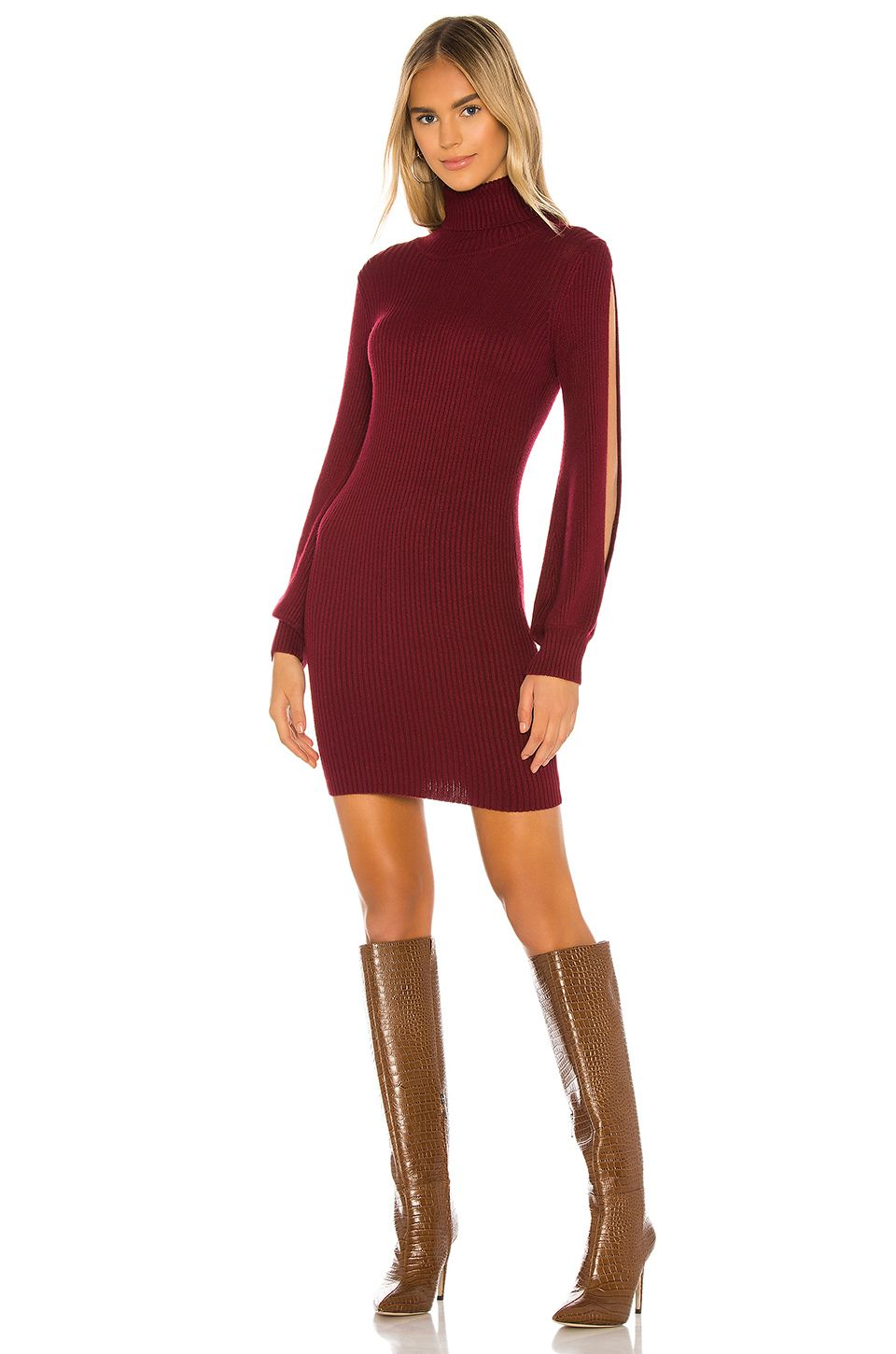 Tularosa Brisk Sweater Dress in Burgundy