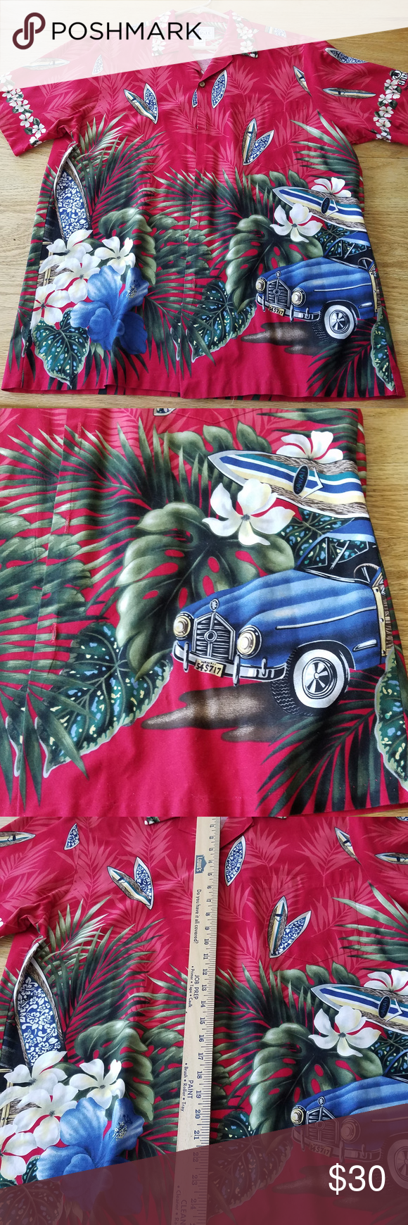 Hawaiian Shirt Aloha Woody Classic Car Surf Size L RJC LTD Mens Hawaiian Shirt A…