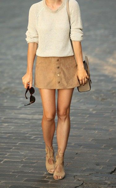 Wheretoget - Grey sweater, camel suede button-up mini skirt, nude lace-up high-heeled sandals and nude beige handbag