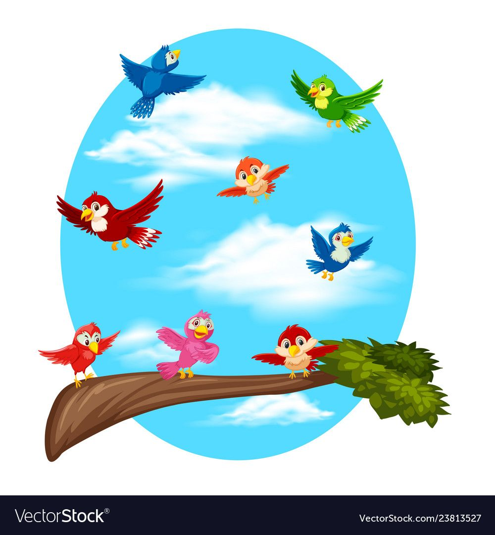 Birds Flying On Sky Illustration Download A Free Preview Or High Quality Adobe Illustrator Ai Eps Pdf A Flying Bird Silhouette Birds Flying Cartoon Clip Art