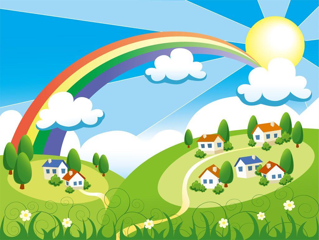 フリーイラスト素材 イラスト 風景 虹 太陽 晴天 晴れ 日光
