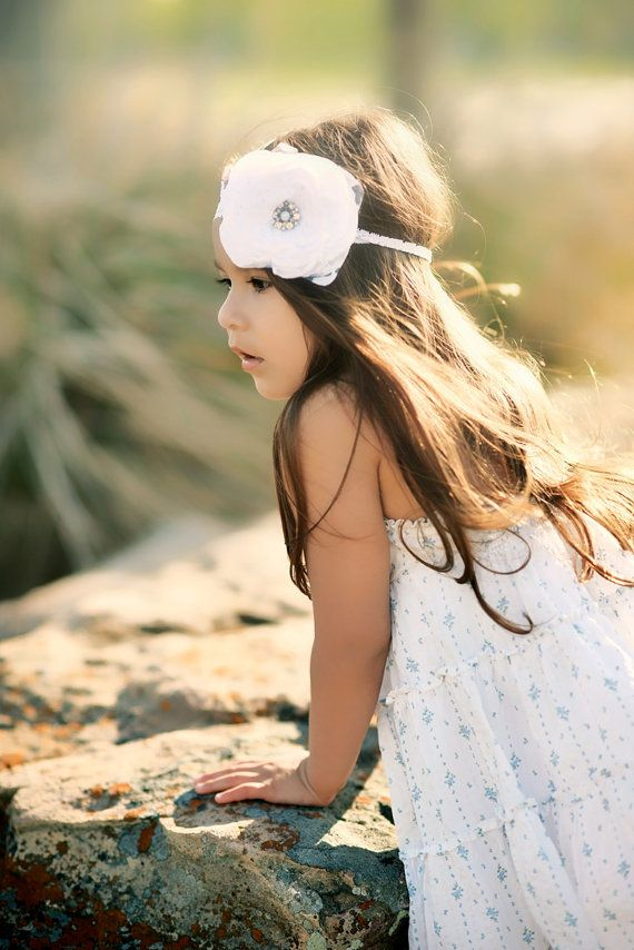 CELESTE Flower Girl White Headband by SadieBloomDesigns