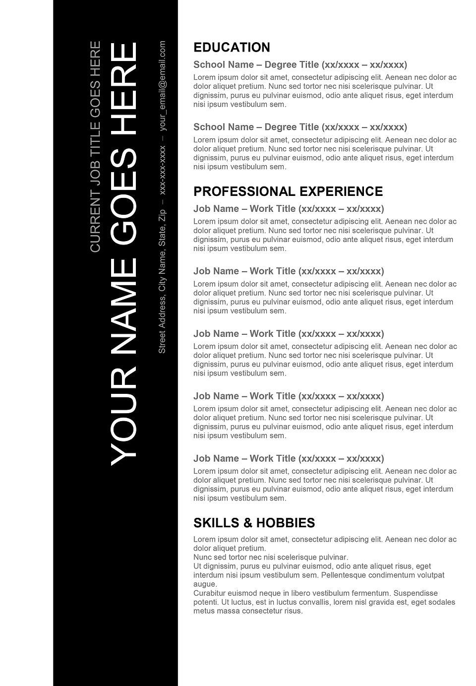 "Hobbies For Resume Stunning Black & White"" Resume Template  Creative Resumes For Download ."
