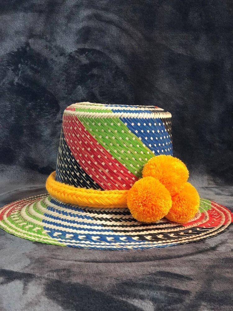 3e41d873 BOLD COLOR Wayuu Hat Woven Straw HandCrafted Stylish Pom pom Panama Hat Sun  | eBay