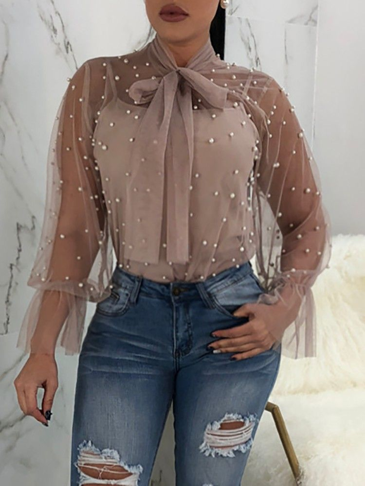 2eb75565f5e4 ... Women's Dresses, Tops and. Sexy Tie Neck Beading Embellished Sheer Mesh  Blouse