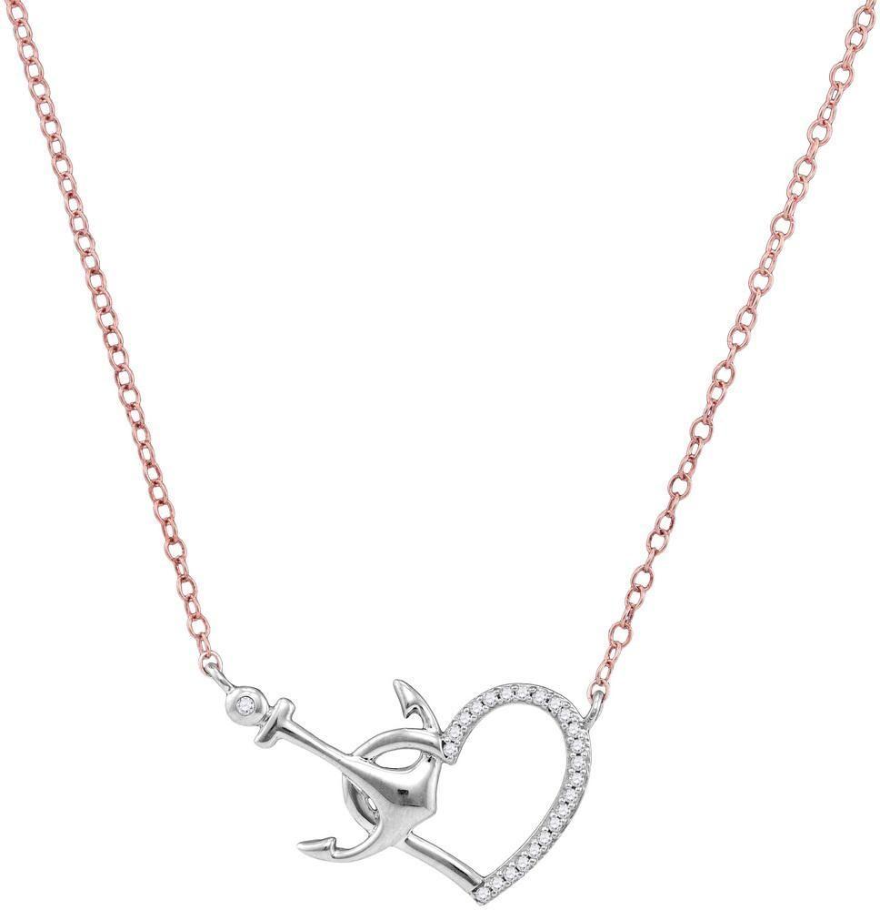 10kt white gold womens round diamond heart anchor pendant necklace 10kt white gold womens round diamond heart anchor pendant necklace 112 cttw aloadofball Gallery