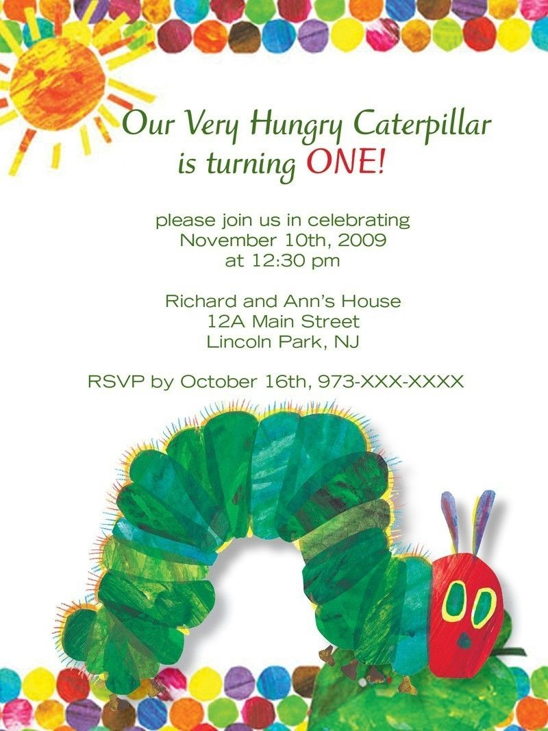 Download Very Hungry Caterpillar Birthday Invitations  Hungry