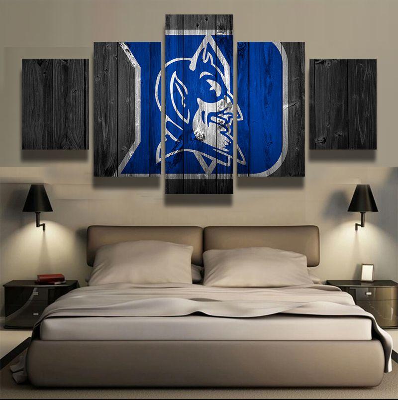 5 Panel Duke Blue Devils Sports Team Logo Modern Home Wall Decor Rhpinterest: Duke Home Decor At Home Improvement Advice