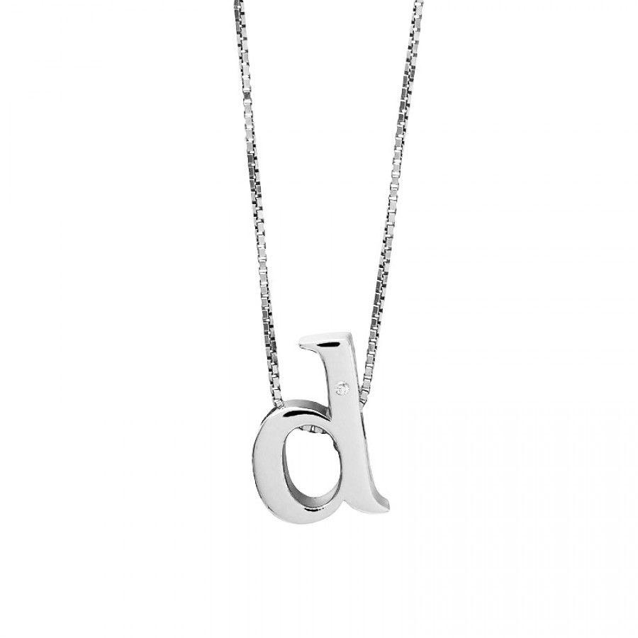 Letter d silver diamond pendant silver initials letter pendant