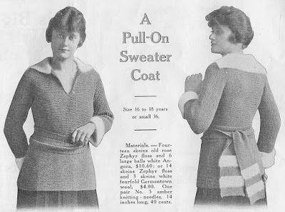 d1f2e12a89be The Vintage Pattern Files  Free 1910 s Knitting Pattern - A Pull on Sweater  Coat
