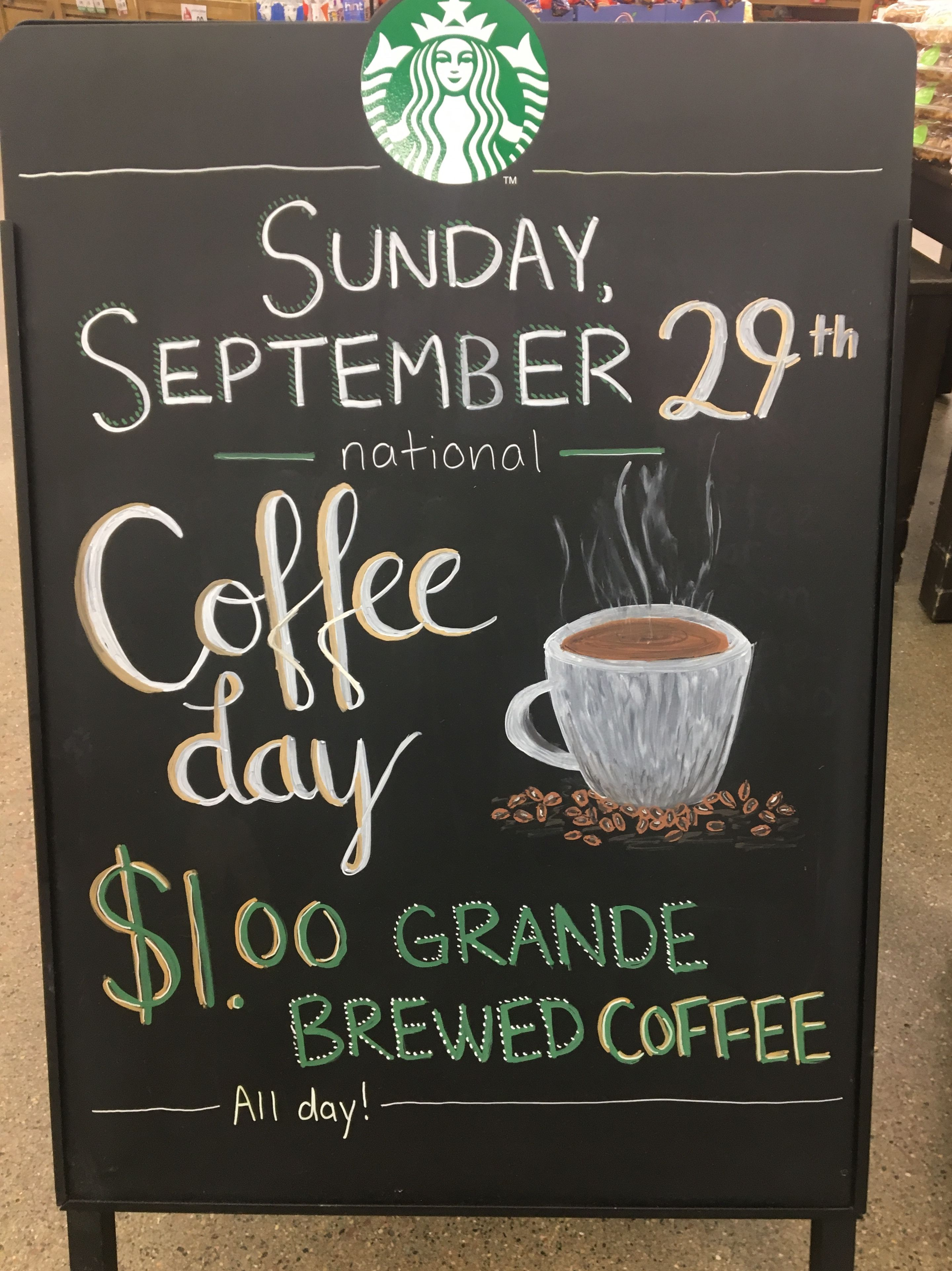 September 29 national coffee day Coffee chalkboard