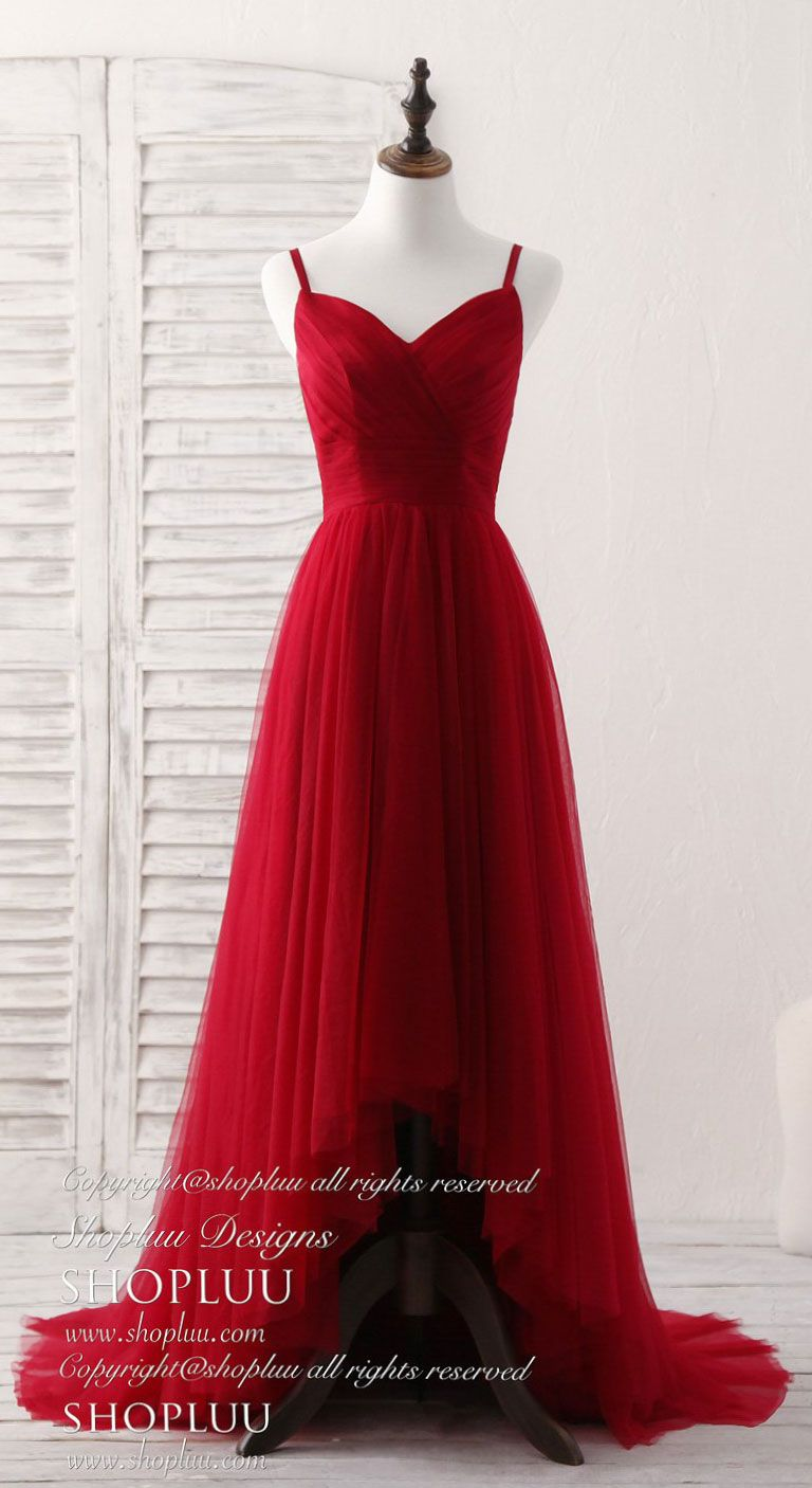 Burgundy sweetheart neck tulle high low prom dress
