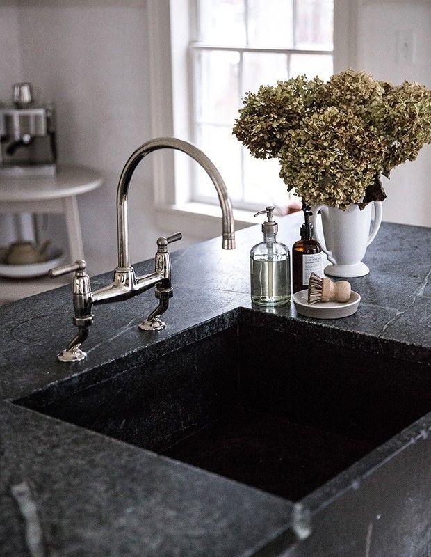 Küchenspüle gut geformt dunkler Speckstein wärmeresistent robust ...