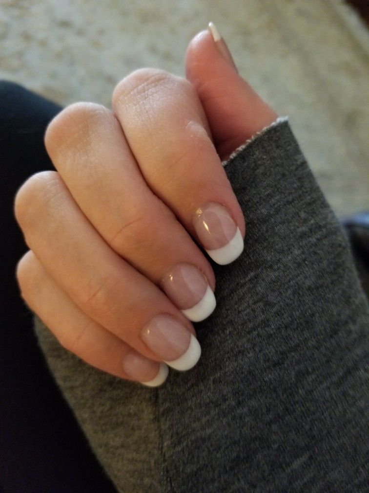 Squoval French Manicure French Tip Acrylic Nails French Manicure Nails Acrylic French Manicure