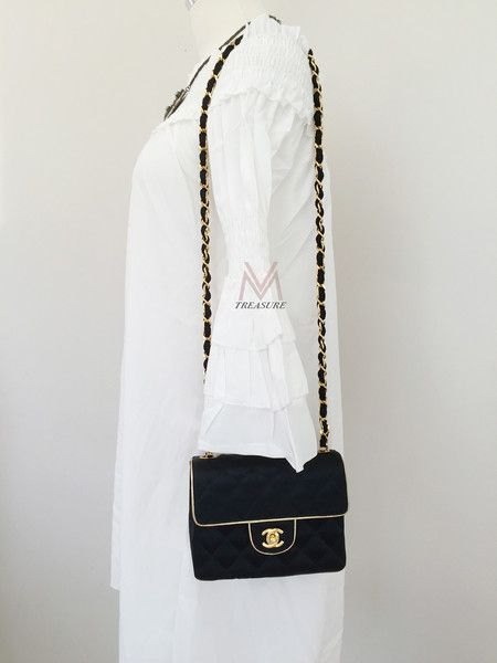 bb215be2db63 CHANEL- Vintage Mini Square Black Satin Quilted Gold Trim Classic Flap Bag.  RARE!!