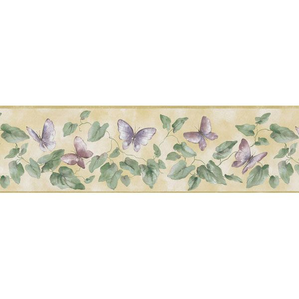451 1725 Yellow Butterfly Lily Pad Brewster Wallpaper Borders Lily Pads Brewster Wallpaper Wallpaper Border