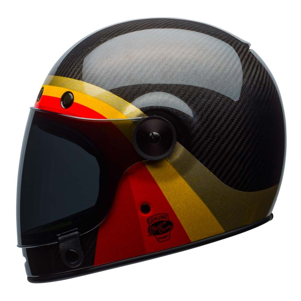 The Bell Bullitt Is The Brand New Full Face Retro Helmet From Bell This Chemical Candy Edition Has A Carbon Fibre Shell And Comes With A Spare Flat Dark