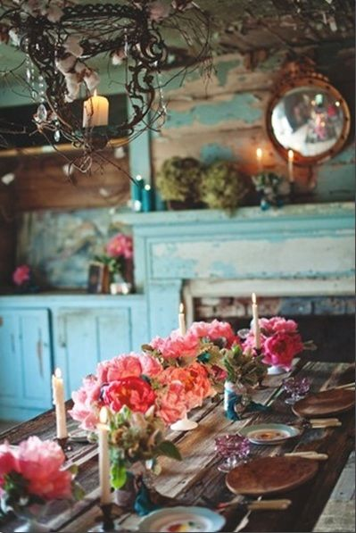 """This southern tablescape features lush coral peonies, lambs ear, and dusty miller. Milk glass, vintage lace, and midori silk ribbon adorned vessels compliment these luscious blooms.""  dixiepixelphoto via mayesh.com"
