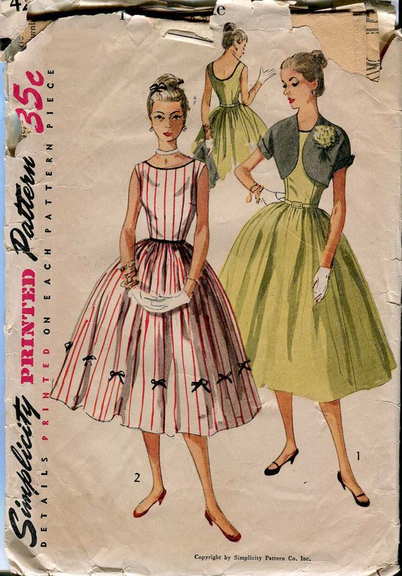 Simplicity 4250 Vintage 1950s Junior Dress pattern with bows and Bolero  Jacket - Simple to Make 411ac0571abd