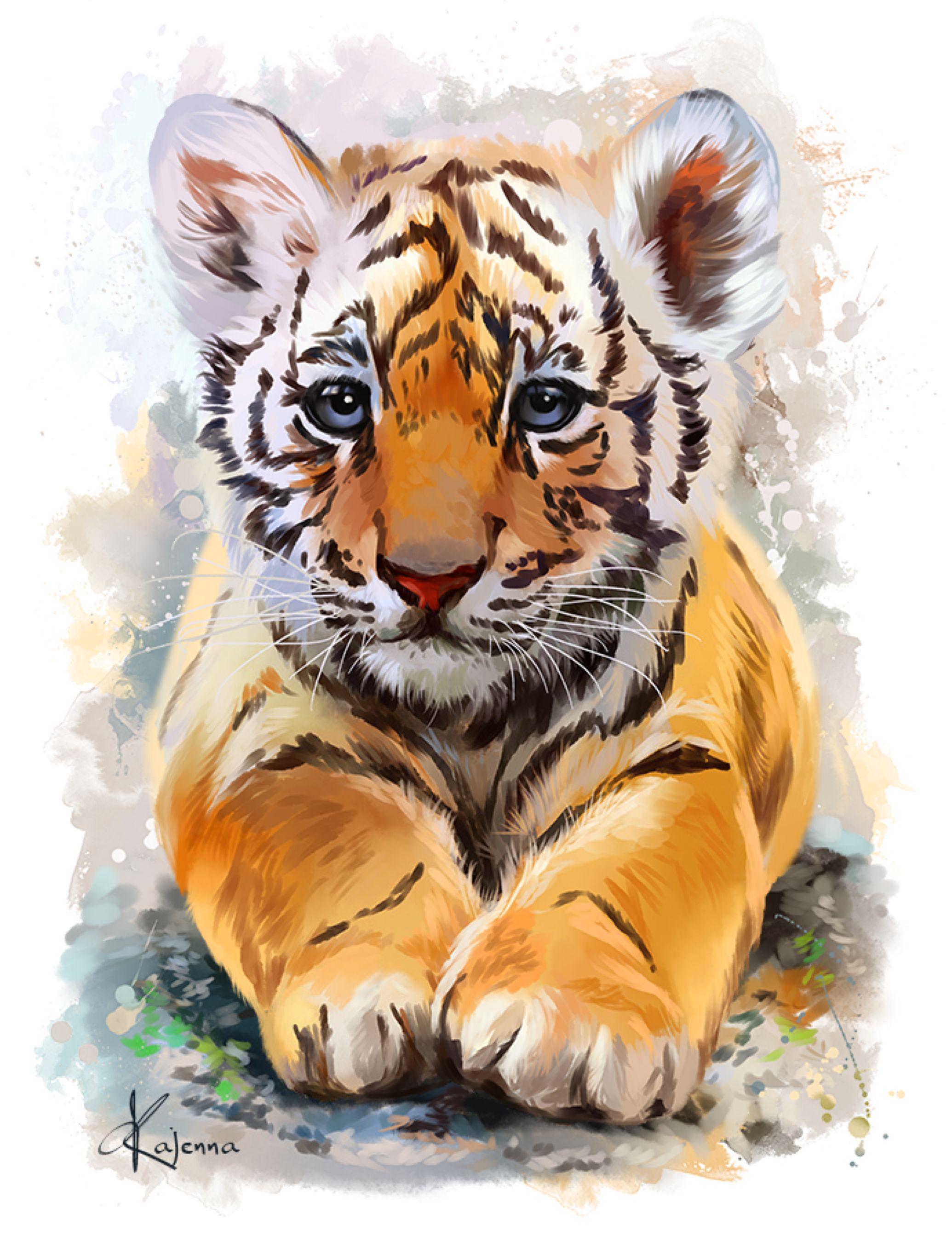 Little Tiger By Kajenna On Deviantart Watercolor Tiger Animal