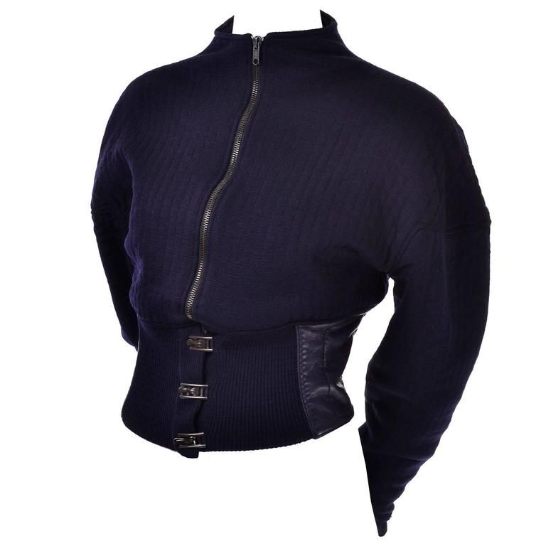 85570a769 For Sale on - This is a wonderful Claude Montana vintage cropped jacket  made of deep navy blue knit wool, with a navy blue leather waistband.