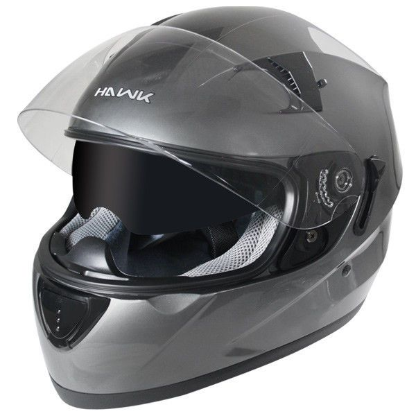 dfd9d9c7 Hawk ST-1150 Gun Metal Dual Shield Smoke Visor Full Face Motorcycle Helmet # HAWK #Motorcycle
