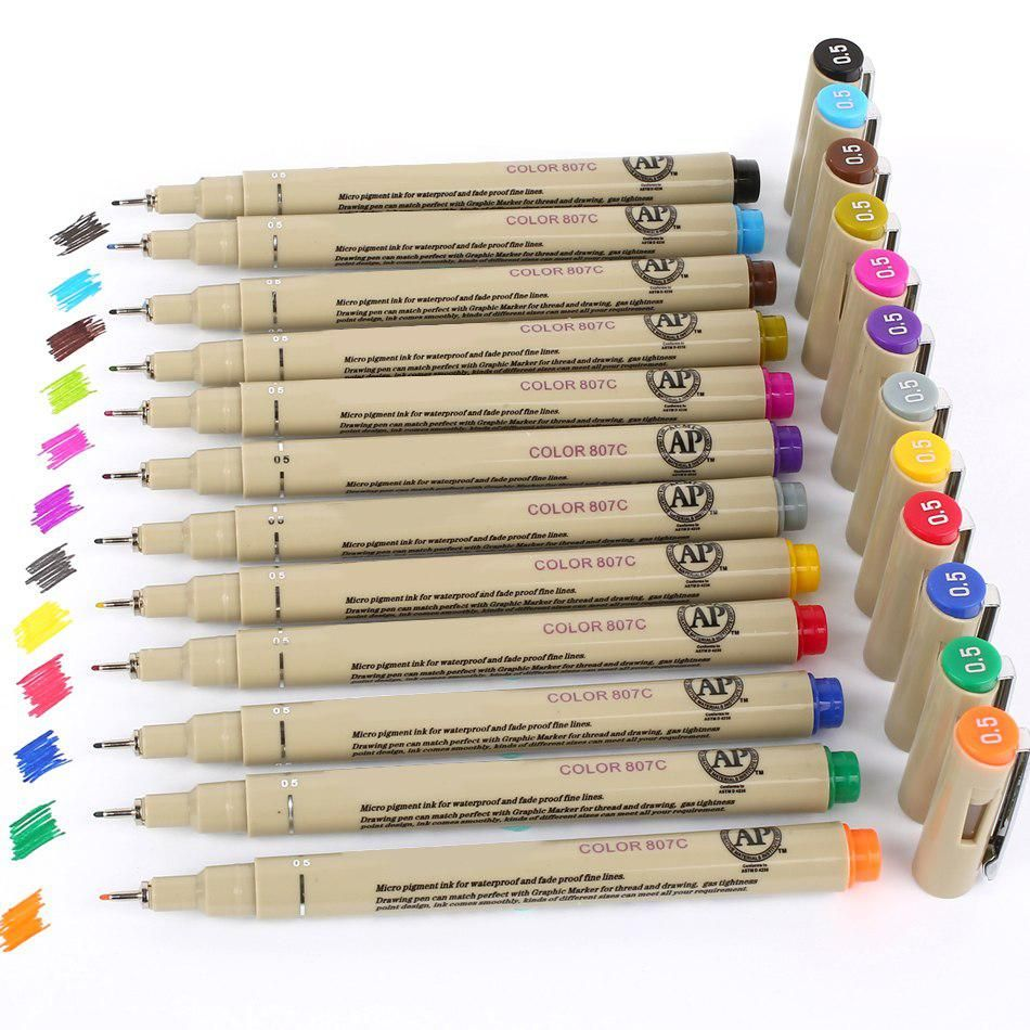 12 Colors Box Colored Sketch Pen Fineliner Drawing Anime Art Markers Pen Finecolour Yesterday S Price Us 17 13 15 40 Eu Marker Art Pen Sets School Supplies