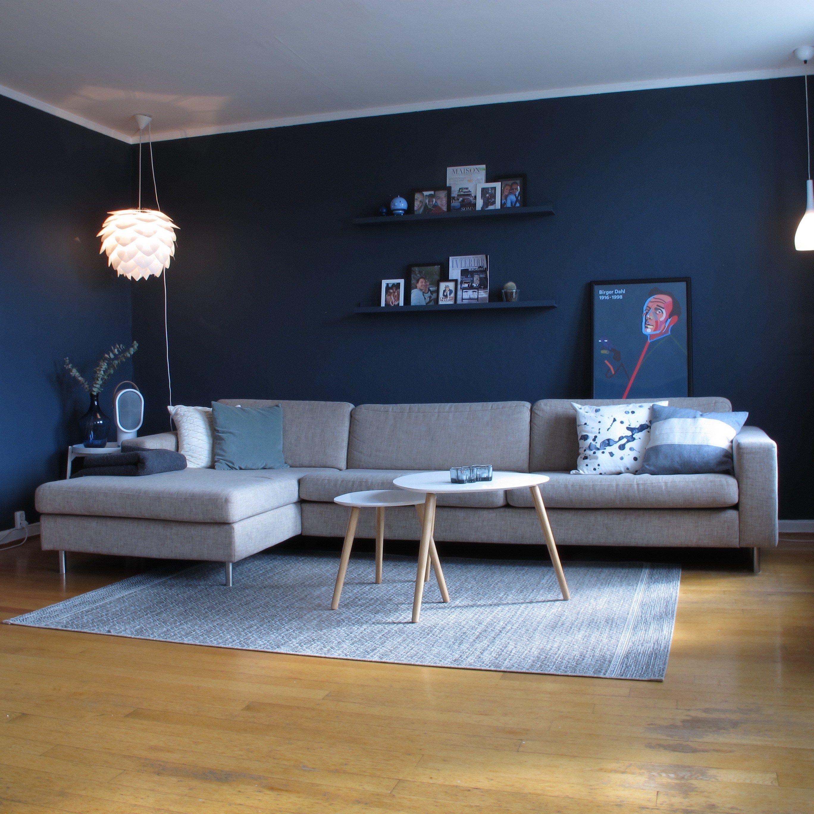 Deco Blue Jotun stue Bolia Scandinavia sofa living