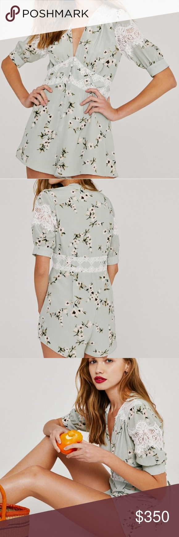 b2739178db9 Stone cold fox rose romper Mint with floral pattern and lace romper by scf.  (In association with fp) New