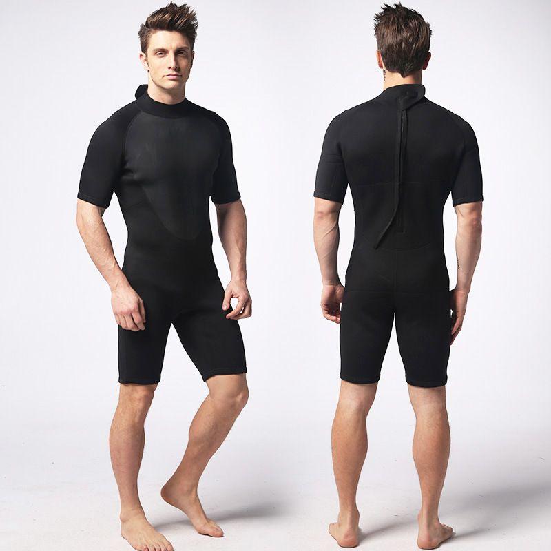 f7e3e1fda NIDALEE 3MM Neoprene Short Sleeved Scuba Diving Wetsuit One Piece Neoprene  Swimming Surfing Wet Suit Men Warm Zipper Equipment
